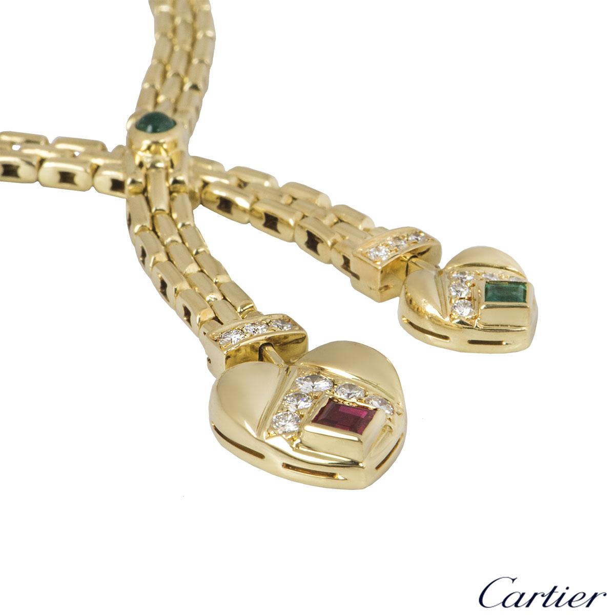 Cartier Yellow Gold Diamond & Multi-Gem 2 Heart Necklace